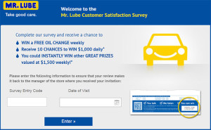 Mr.Lube Customer Satisfaction Survey