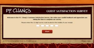 P.F. Chang's Customer Satisfaction Survey