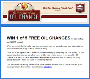 Great Canadian Oil Change Quarterly Customer Survey