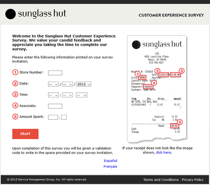 Sunglass Hut Customer Experience Survey