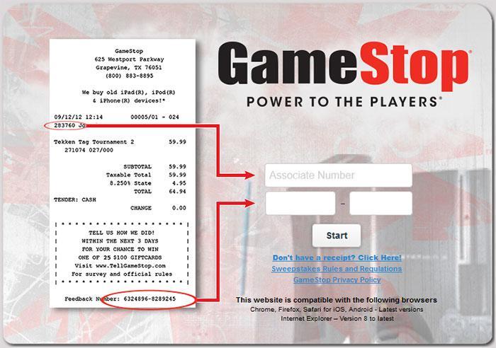 www.tellgamestop.com - GameStop Customer Experience Survey
