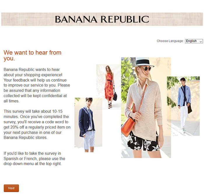 Banana Republic Survey Prizes