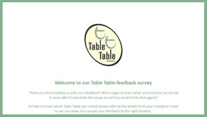 Table Table Customer Feedback Survey