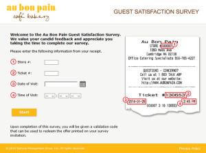 Au Bon Pain Guest Satisfaction Survey
