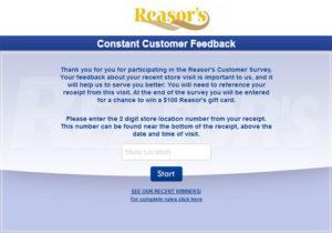 Reasor's Customer Survey