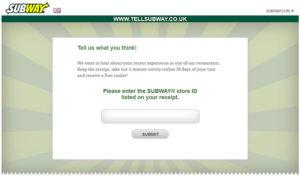 SUBWAY UK Customer Survey