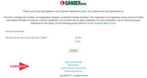 Gander Mountain Customer Satisfaction Survey
