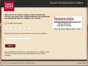 Bakers Square Guest Satisfaction Survey