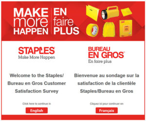 Staples/Bureau en gros Customer Satisfaction Survey