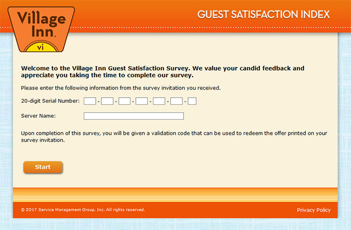 Village Inn Guest Satisfaction Survey - www villageinn com/surveys