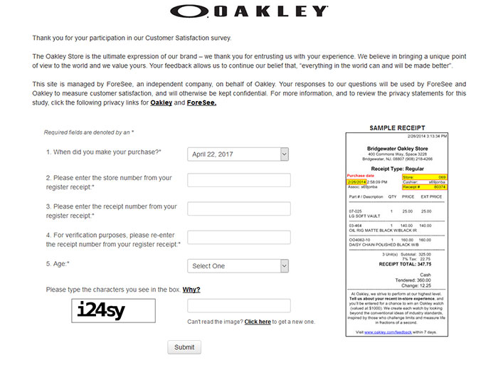Oakley-Customer-Satisfaction-Survey