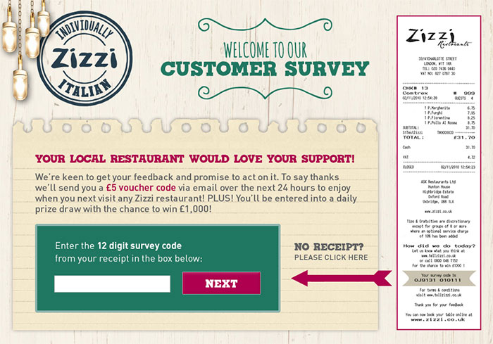 zizzi customer satisfaction survey www tellzizzi com
