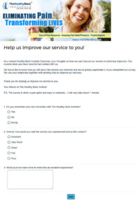 Healthy Back Institute Customer Love Survey