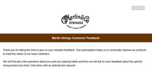 Martin Strings Customer Feedback Survey