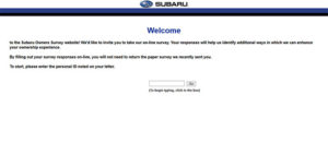 Subaru Owners Feedback Survey