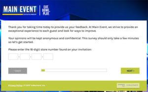 Main Event Customer Feedback Survey