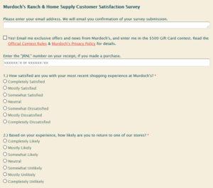 Murdoch's Ranch & Home Supply Customer Satisfaction Survey