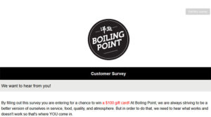 Boiling Point Customer Survey