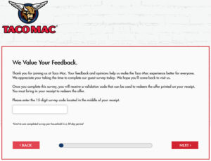 Taco Mac Customer Satisfaction Survey